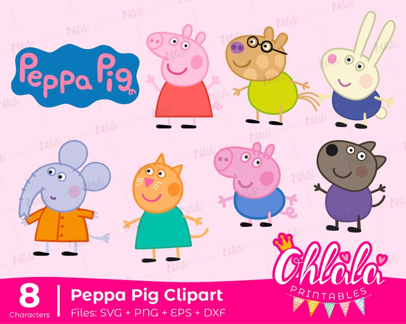 photo relating to Peppa Pig Character Free Printable Images titled 8 clipart Peppa Pig mates people SVG PNG eps dxf data files get together birthday printables elements