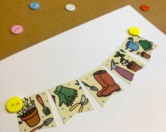 GARDENING Personalised Themed Card || Birthday, Retirement, Penblwydd etc. | Cerdyn Cymraeg Garddio | Cardiau Mwydro Custom Calligraphy Text