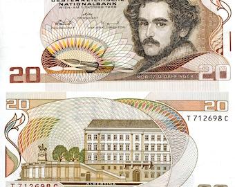 Austria P-148 Twenty Schillings Year 1986 Uncirculated Pre-Euro Banknote