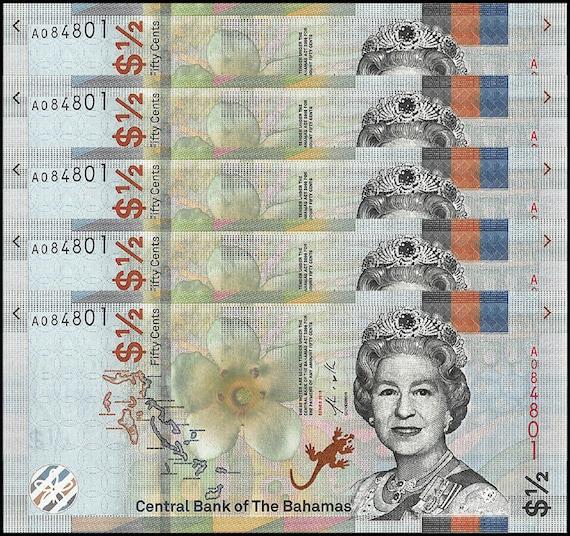 P-NEW UNC Set 2 PCS Bahamas 1//2 3 Dollars 2019