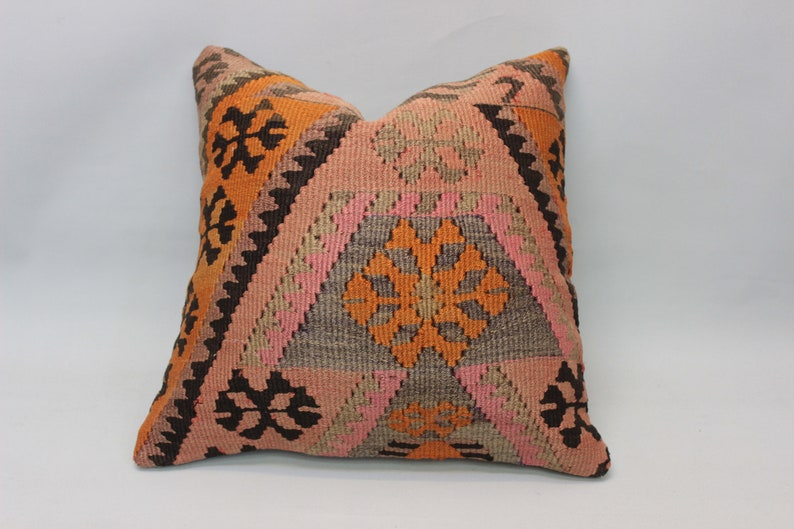 Pink Kilim Pillow18x18inch45x45 cmHandmade image 0