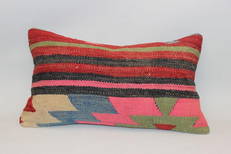 Pink Lumbar Pillow,12x20inch,30x50 cm,Handmade Pillow,Decorative Pillow,Cushion Cover,Bohemian Pillow,Anatolian Area Kilim Pillow