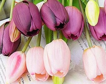 Artificial Tulips / 5 Flower Bunch / Decorative Floral Wedding Arrangement