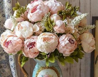 Artificial Peony Bouquet / Silk Peonies Bunch / Pink Wedding Flowers