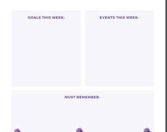 Weekly planner insert 1 page floral design lavender
