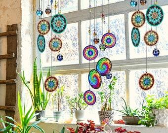 Bohemian Glass Bead Wind Chime Window Suncatcher Memorial Mandala Boho Decor