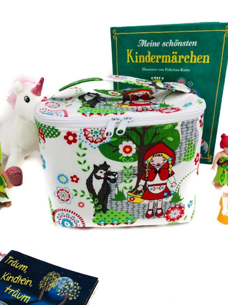 Fabric box small with lid fairytale wolf girl children toys storage CDs basket toy box bin storage treasure drinks fairytale white