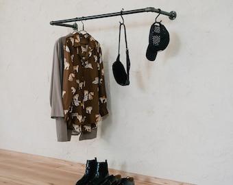 Clothes rail industrial wardrobe for wall mounting KASPAR