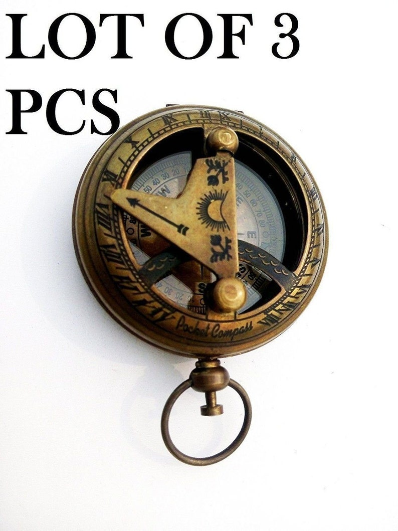 PUSH BUTTON SUNDIAL POCKET MARITIME BRASS COMPASS COLLECTIBLE VINTAGE Gift