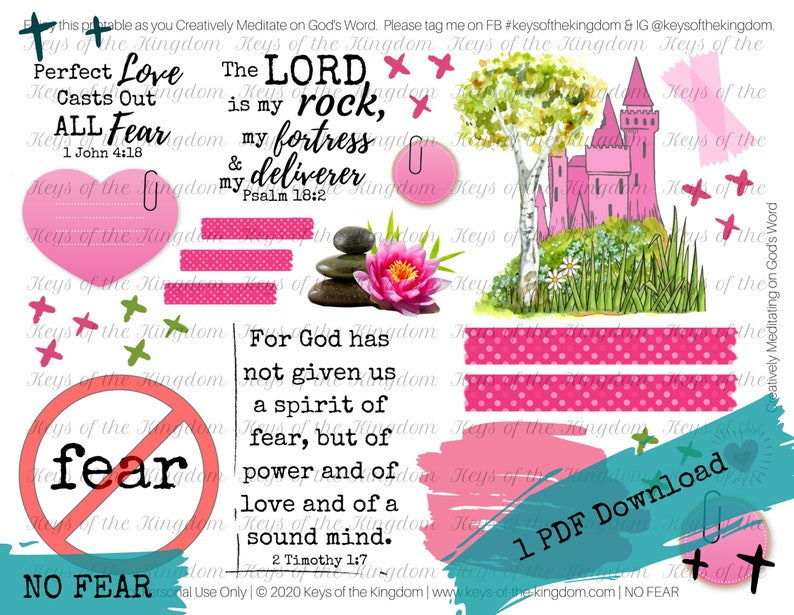 Stand Strong No Fear Printable No Spirit of Fear God our Healer NO FEAR Bible Journaling Printable Easy to Print No Weapon
