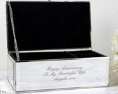 Personalised Engraved Any Message Mirrored Jewellery Box