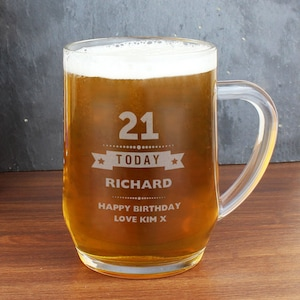 Personalised Stern Half Pint Tankard Engraved Gift For Him Beer Ale Lager