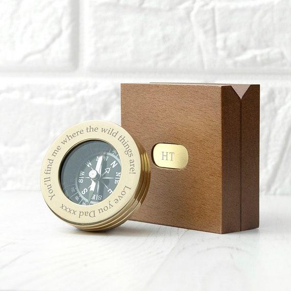 Brújula De Plata Grabado-Personalizado Con Caja De Madera