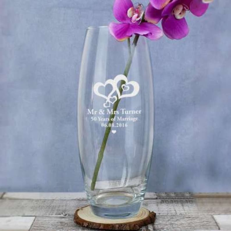 Valentines or Engagement Gift Personalised Engraved Love Hearts Design Bullet Vase Perfect Wedding Anniversary