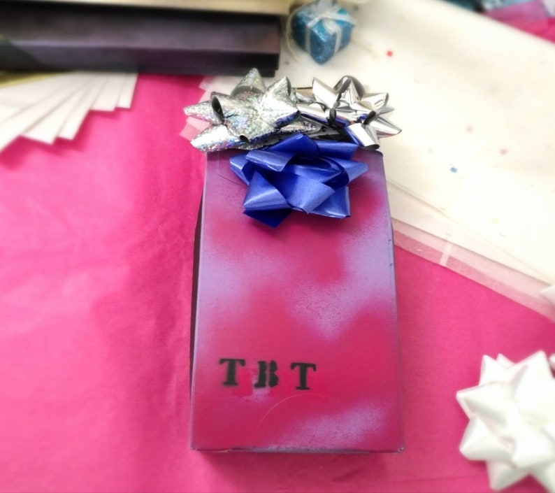 birthday gift silver mystery box /& blue theme mystery box vintage surprise gift handmade red mystery box for women upcycled.