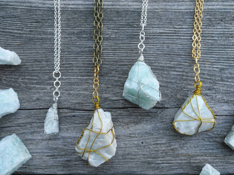 raw amazonite crystal necklace healing crystals raw stone necklace raw natural crystal pastel aesthetic natural beauty witch jewelry