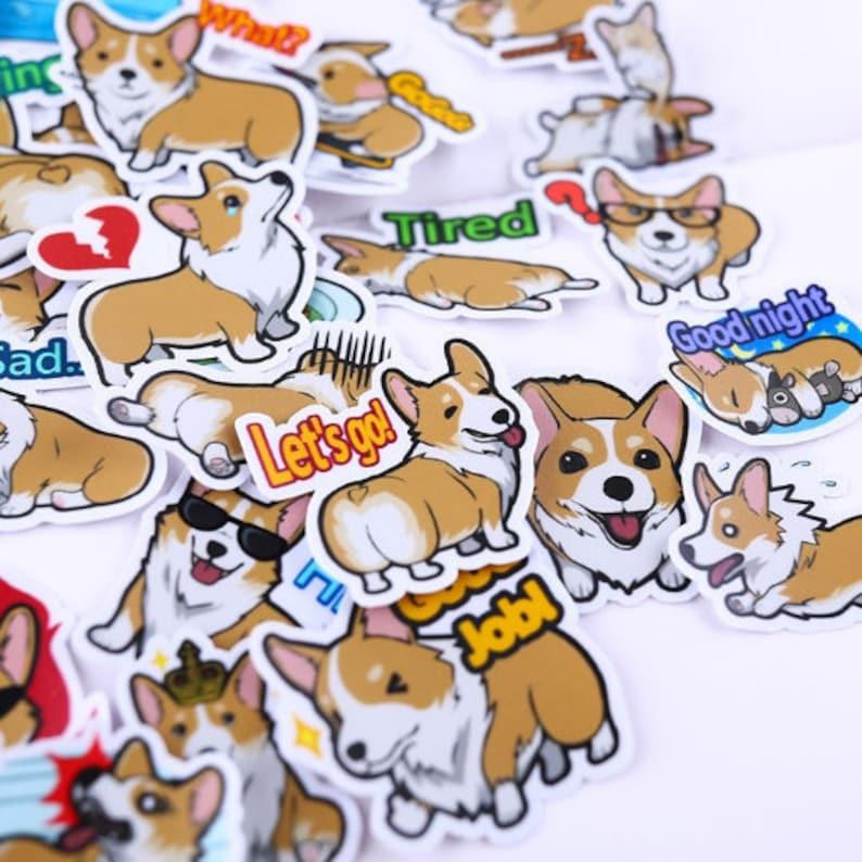 40 Pcs Cute Corgi Sticker PackDog StickersDecorative StickersLaptop DecoScrapbookingDiary Deco
