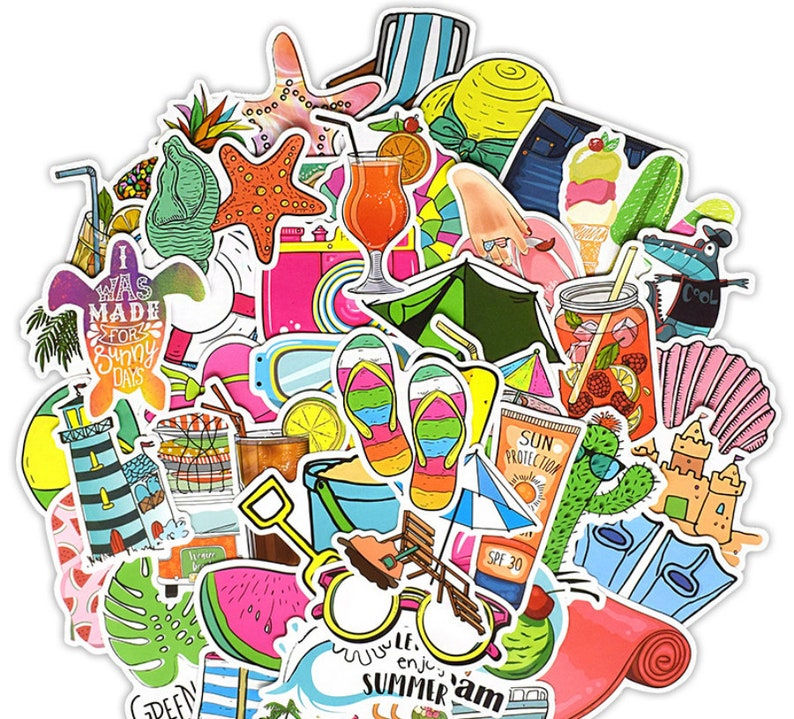 50 Pcs Summer Vacation Sticker Pack Travel Stickers Laptop Suitcase Stickers Skateboard Stickers Decoration Stickers