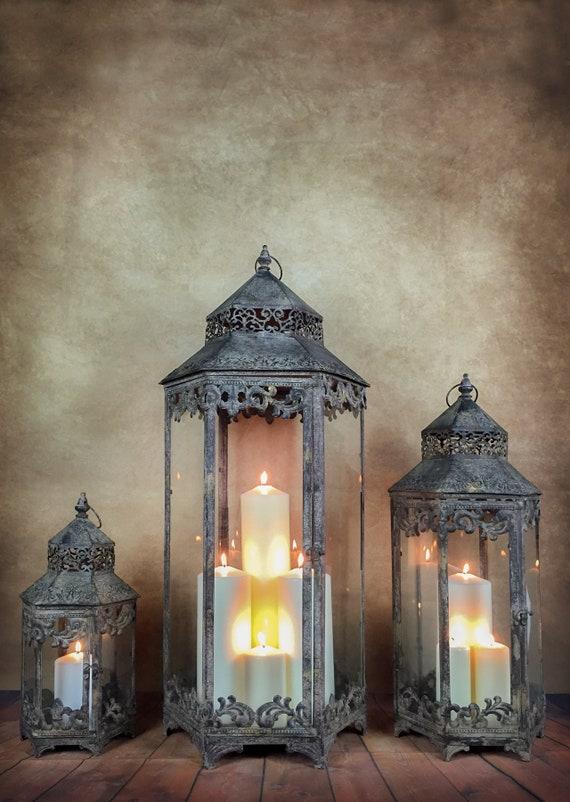Large Metal Garden Lantern Candle Holder Antique French Vintage Style