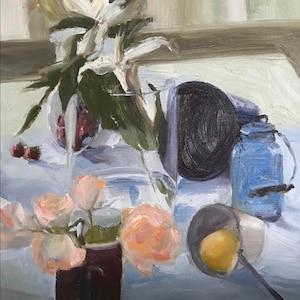 Pitcher /& Daffodils ORIGINAL ART-Still Life wiht Globe
