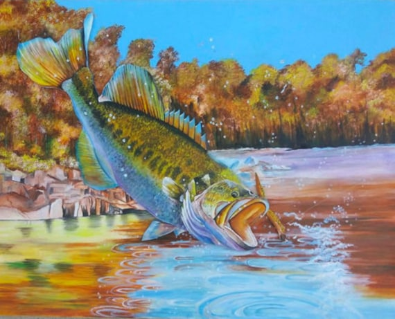 Fish Painting Fresh Water Large Mouth Bass Fish Art Etsy