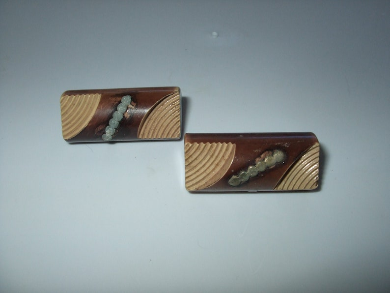Vintage Lot of 2 Brown Toggle Buttons Catalin or Bakelite Early Plastic