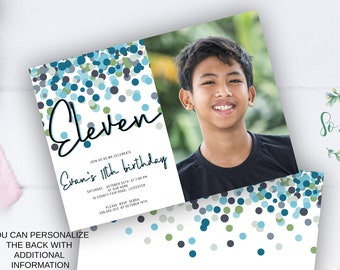 Shades of Blue Confetti 11th Birthday Invitation with photo,  Edit yourself Invite for 11 year old Birthday Party, 2 sizes, DIY