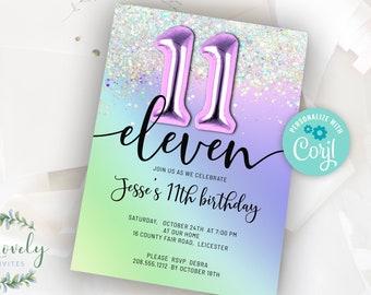 Purple Rainbow and Glitter 11th Birthday Invitation,  EDIT YOURSELF Birthday Invite for 11 year old Birthday Party, 2 sizes, DIY invite