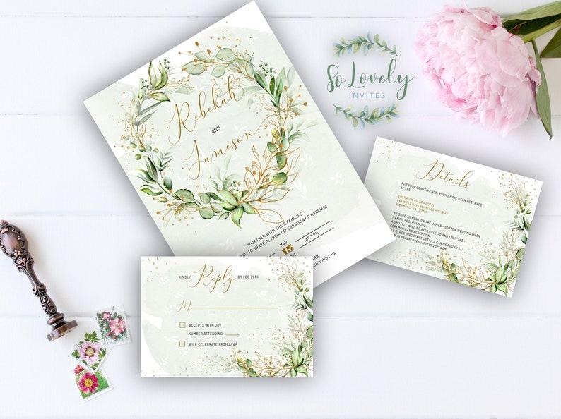 Faux Gold Invite Wedding Invitation Invitation Template Download Rebekah Wedding Invitation Template  3 pieces Boho Wedding Invite kit