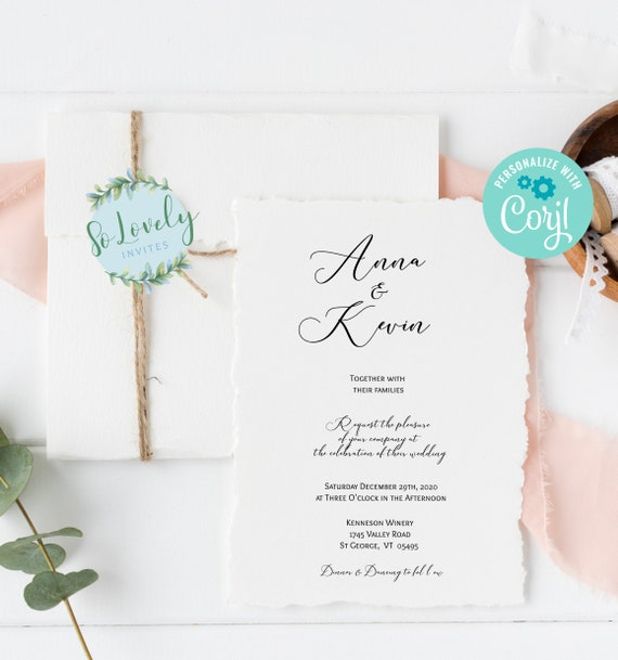5 pcs Wedding Invite Save the Date RSVP Thank you Card- DIY Edit yourself! Modern Minimalist Wedding Invitation Suite Details