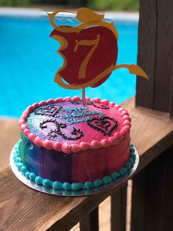 Awesome Disney Descendants Cake Topper Descendants Etsy Birthday Cards Printable Trancafe Filternl