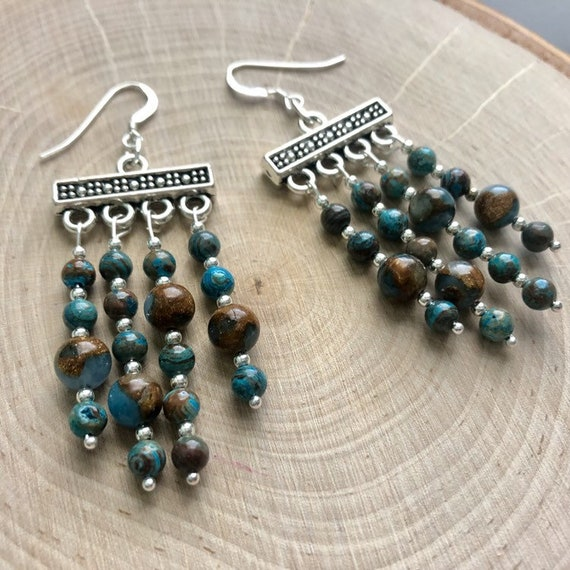 gold dangle earrings Turquoise /& Bronzite earrings colorful beaded jewelry