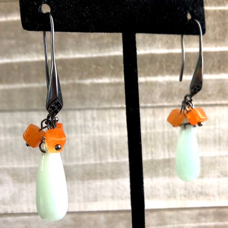 Light Aqua and Burnt Orange Drop Earrings Teardrop Amazonite and Carnelian Gunmetal Earrings Long