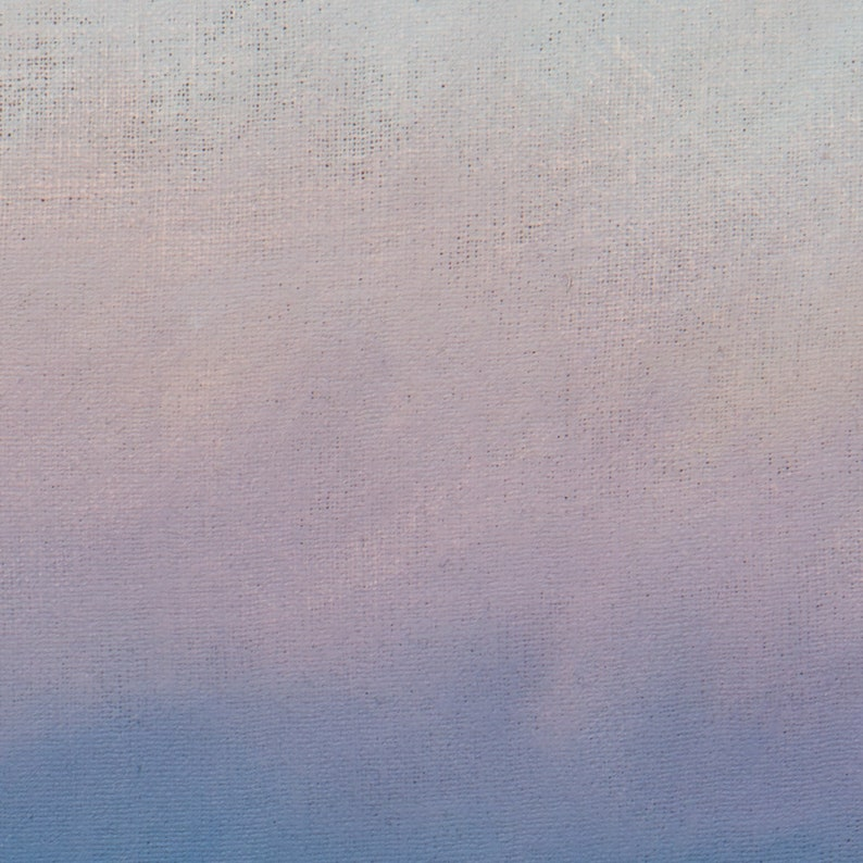 pink moon and blue-toned landscape at dusk in the big open stretches of Southern Colorado. Original Oil painting of a beautiful big