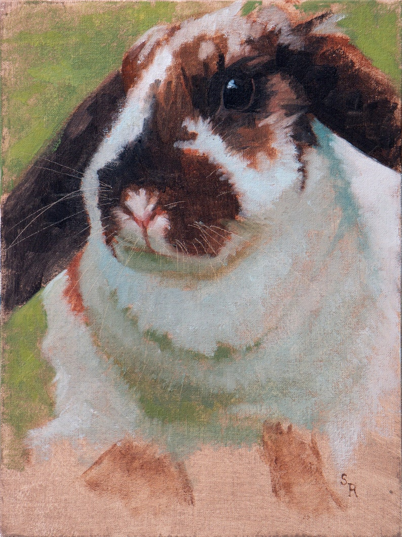 Original oil painting of a cute lop eared bunny rabbit image 0