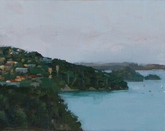 Original Oil painting of a beautiful landscape of the varied homes and small islands dotting the ocean at the Bay of Islands, New Zealand