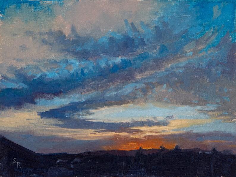 Original Oil painting of a colorful sunset landscape scene image 0