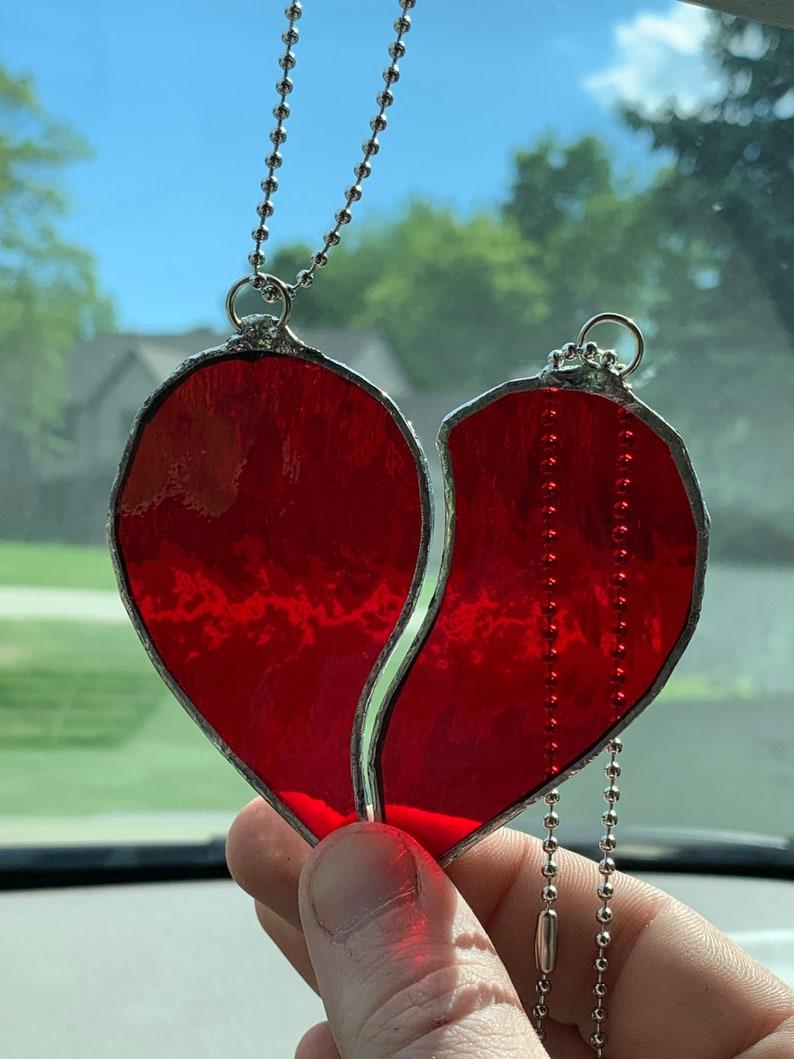 Handmade Stained Glass Heart Sun Catcher