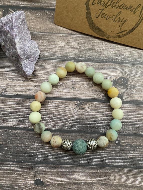 Mothers Day Gift Ideas Badger and Crow Stone Healing Bracelet The Biddy Bracelet Birthday Gift Idea Natural Amazonite Mala Bracelet