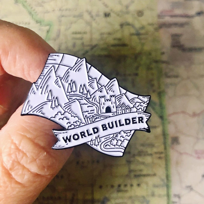 World Builder Enamel Pin  for writers crafters makers image 0