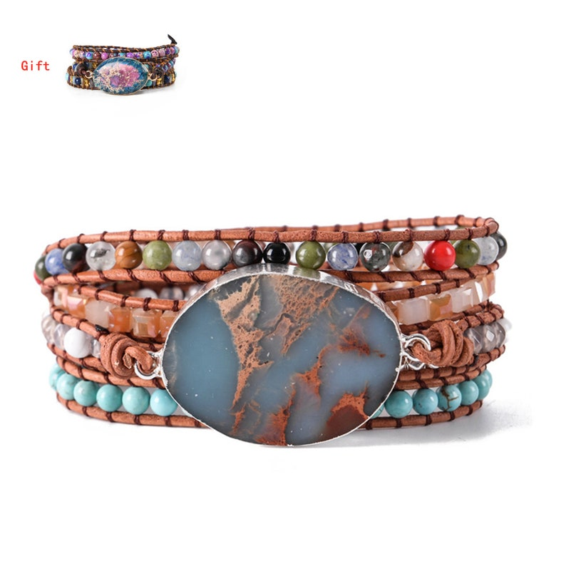 Natural Stone Bracelet 5 Wraps Bracelet Handmade Blue Color image 1