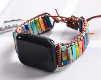38mm/44mmNatural Stone Watch Strap,Chakra Beaded Band,Smartwatch Bracelet