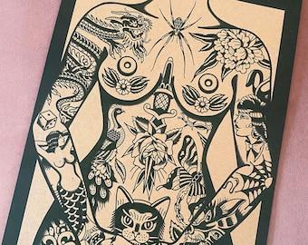 Tattooed Lady A3 Traditional Tattoo Flash Print