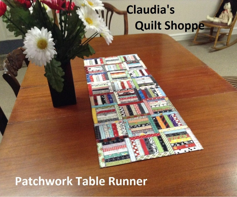 Patchwork Table Runner Rug and Placemats Downloadable PDF image 1