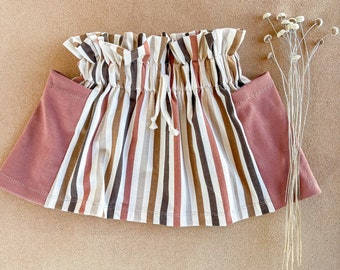 PREORDER AV2 Gatherer Skirt // Stripes // Organic Cotton // Baby Toddler Youth Girl