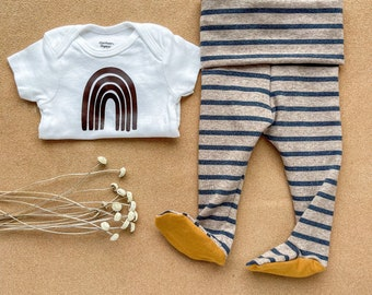 PREORDER AV2 Footie Pants // Neutral brown stripes // Boho //Girl Boy Unisex // Newborn