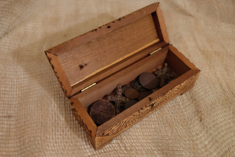 Jewelry box Sarcophagus Carved openwork box is made of Linden a box for jewelry coins jewelry trifles  Gift