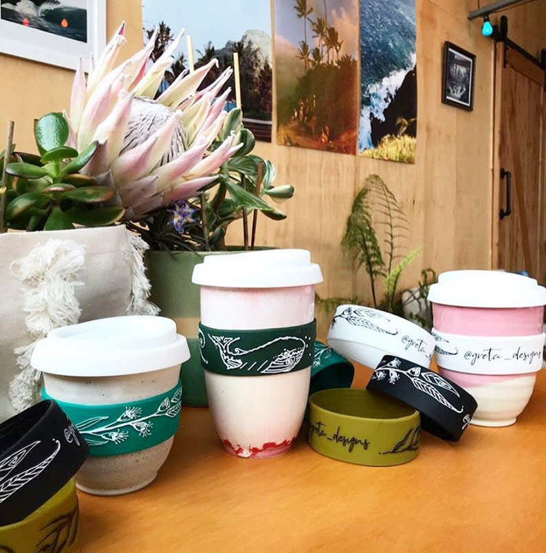 HEAT BAND FOR Travel Mugs • COFFEE ART CAFE Boho  Cup Keep  Cool• ECO • MUSTARD