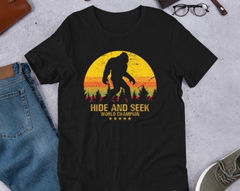 12ee71ec8 Bigfoot Unisex Shirt by Xeire, Hide and Seek Champion, Funny Sasquatch Yeti  Short Sleeve Tee for Boys, Girls, Men and Women