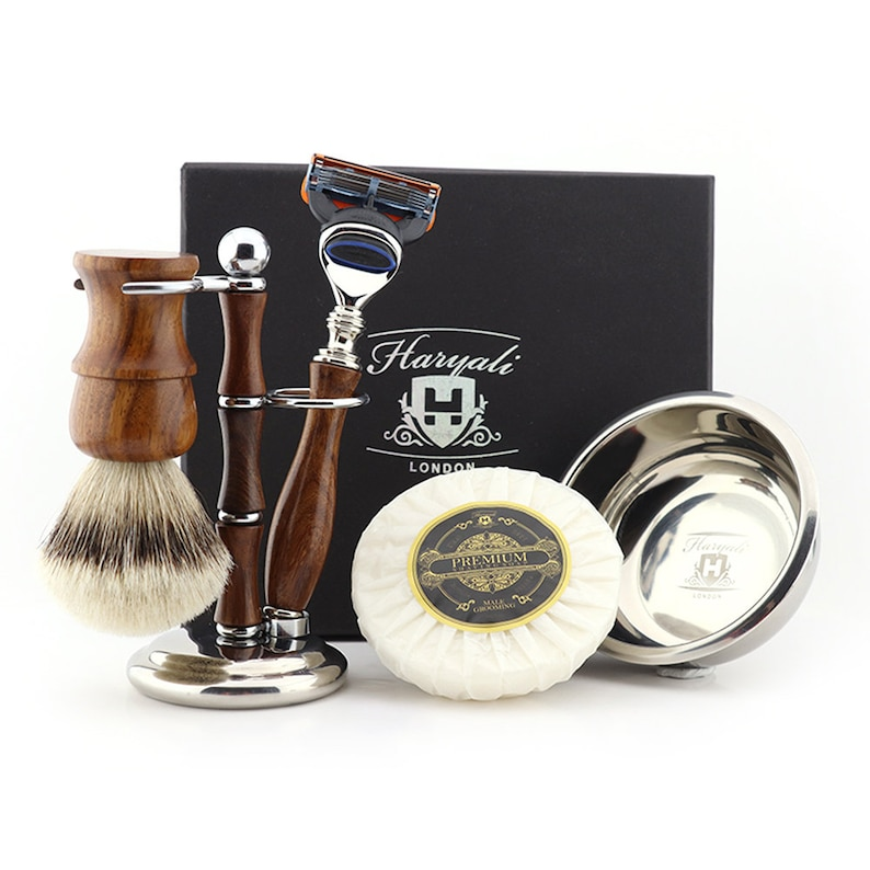 Fancy Antique Wood Shaving Kit with Silver Tip Badger Brush Stand & Bowl Gift Set for Boyfriend on 18th Birthday